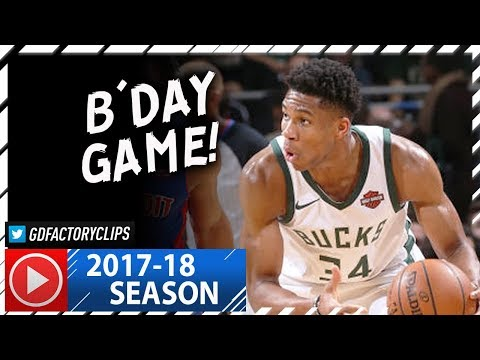 Giannis Antetokounmpo BIRTHDAY Full Highlights vs Pistons (2017.12.06) - 25 Pts, 10 Reb!