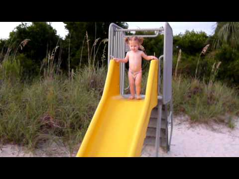 16 month old baby masters the slide.MOV