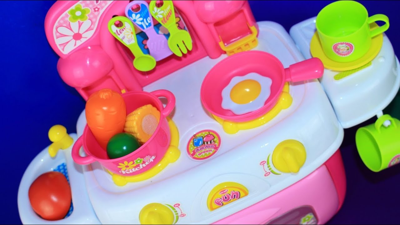 Cooking With Toy Kitchen And Velcro Cutting Fruits And Vegetables