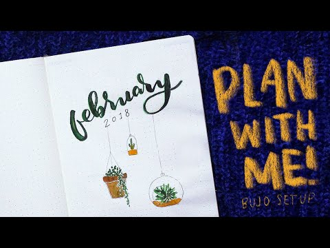 Plan With Me! February Bullet Journal Set-up Ideas Nature Theme
