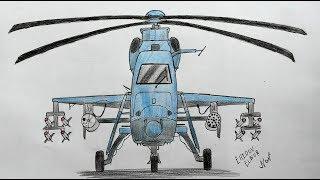 Как нарисовать Вертолет Военный (Ehedov Elnur) Vertolyot resmi nece cekilir