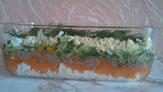 Легкий салат с огурцом и тунцом без масла и майонеза