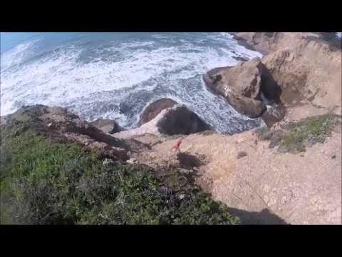 Rock climbing off the California coast, near Greyhound Rock beach