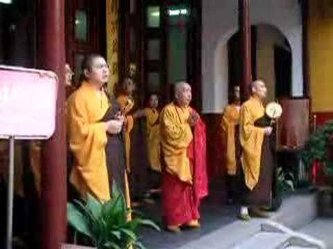 China, Oct 21: Monks Chanting at Jade Buddha Temple