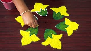 Simple kolam art designs with 5x3 dots - 5 dots rangoli designs with colours - small flower kolangal