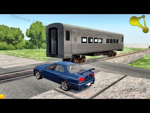 Idiots on Railway Crossing (rocket train crashes) BeamNG.Drive