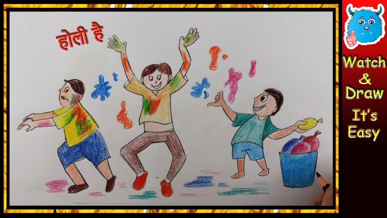 How To Draw Holi Festival Colouring Page Holi T