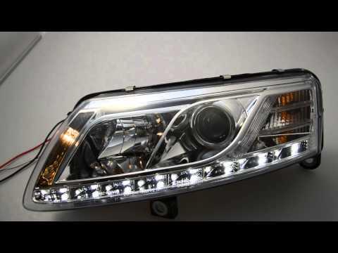 Sw Drl Scheinwerfer Audi A6 4f Black Led Tagfahrlicht S Doovi