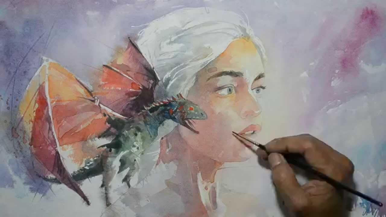 Game with watercolor - Daenerys Targaryen Game Of Thrones Painting