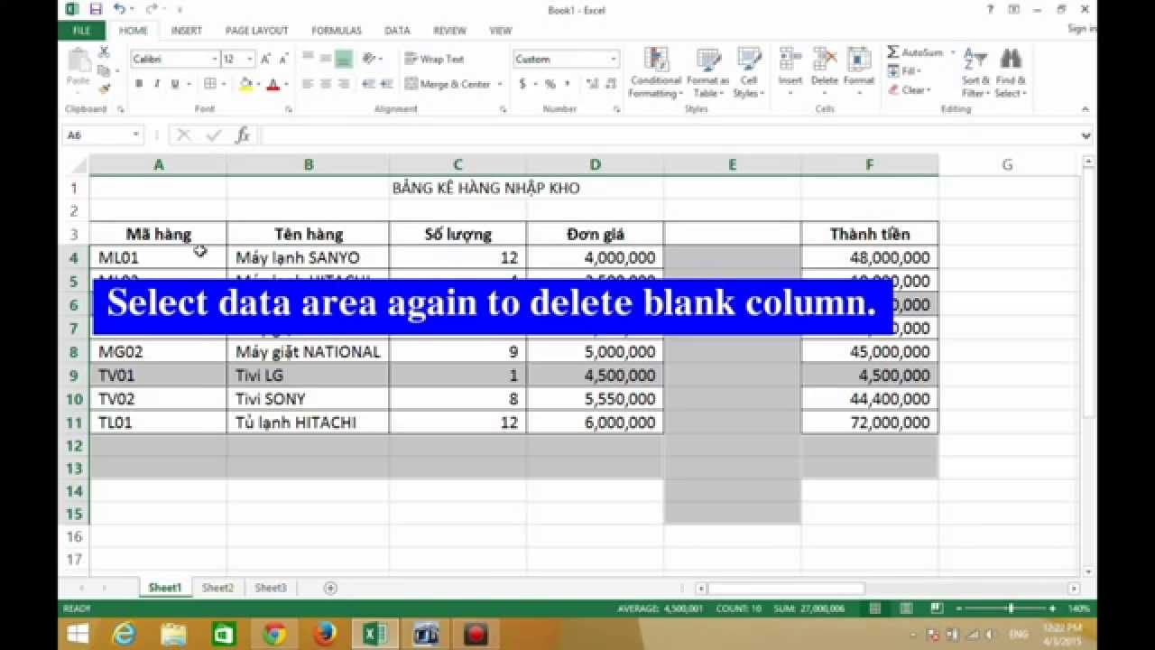 Excel vba delete blank rows in column how to quickly for Emacs org table delete column