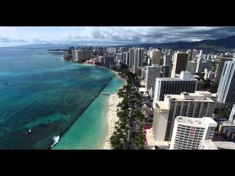 Drone footage of Waikiki Beach, Hawaii