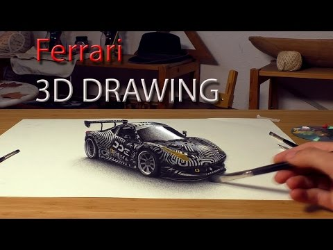 Drawing of Ferrari 458 for Daily Driven Exotics in 3D/speed painting