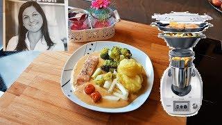 Turmkochen mit dem Thermomix - Gemüse-Fisch-Platte mit Kartoffelpüree und Paprikasauce