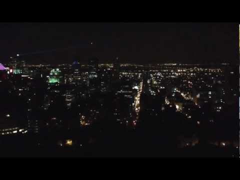 Montreal night view from Parc du Mont Royal HD