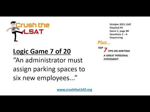 Logic Games Lesson 7 of 20 (October 2011 LSAT): An administrator must assign parking spaces to six..
