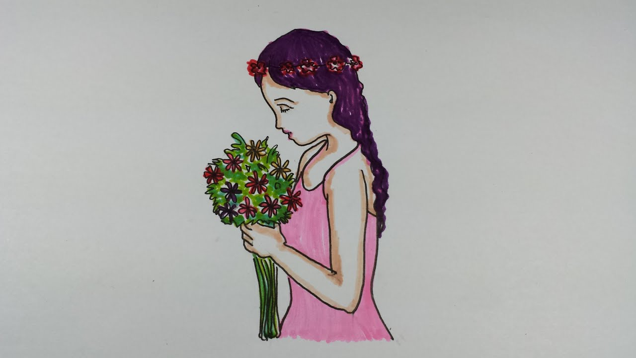 Drawing tutorialhow to draw a girl holding a bouquet of flowers drawing tutorialhow to draw a girl holding a bouquet of flowers youtube izmirmasajfo