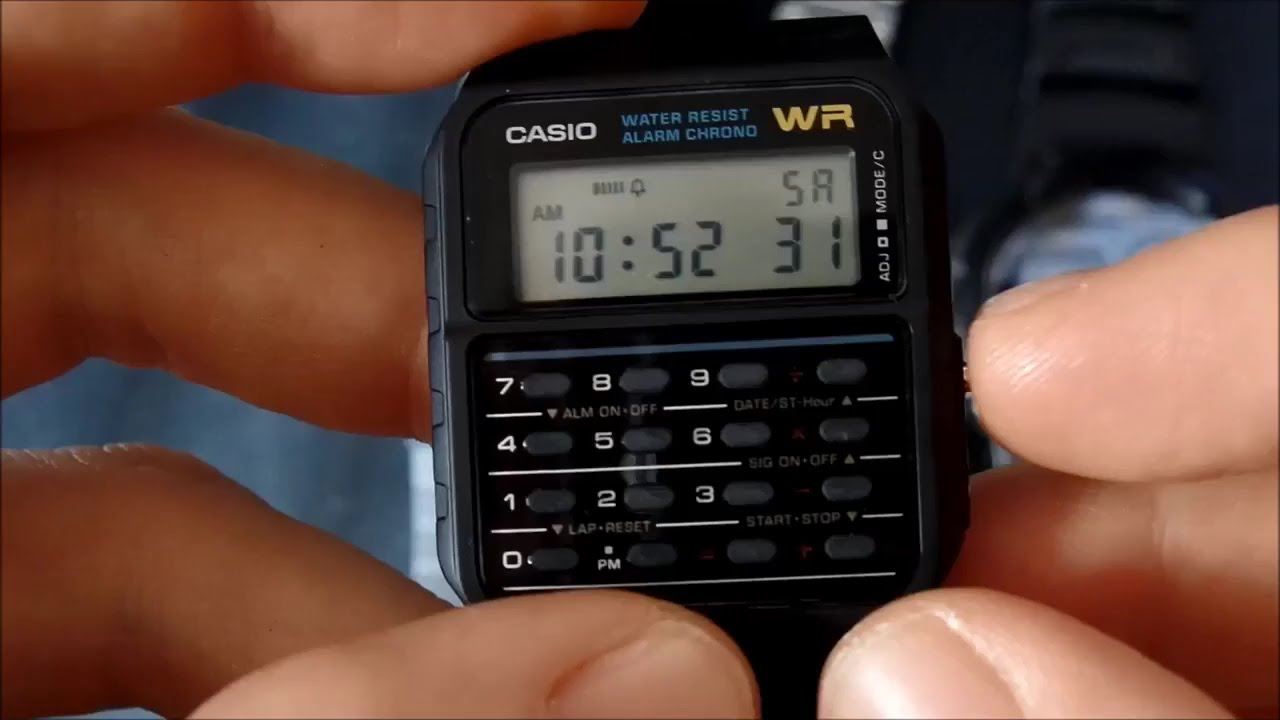 c498392fe63 How to set time and date on a Casio CA-53 calculator watch - YouTube