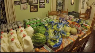 once a month grocery shopping fill in aldi haul extra fruits veggies etcs 200 family of nine