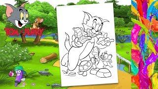 Том и Джерри кормят черепаху | Раскраска для детей | Раскраска