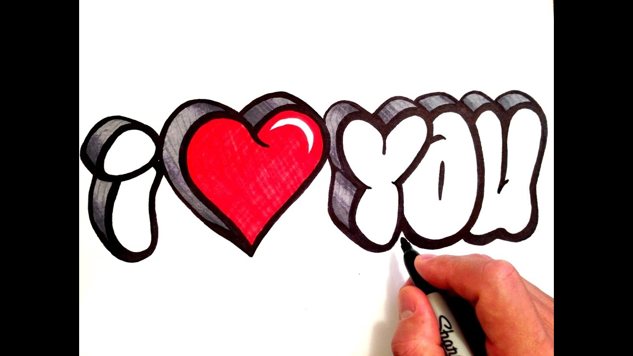 how to draw i love you in 3d bubble letters