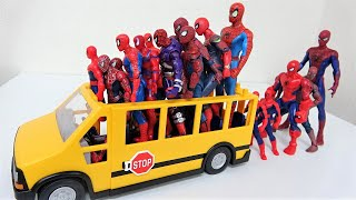 Spiderman Get on the School Bus! Hulk Attack Spiderman Marvel Avengers Superheroes Toys