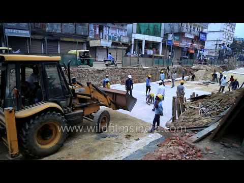Flyover work and road construction in Tripura, India