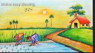 How to draw Rice plantation scenery.Step by step(easy draw)