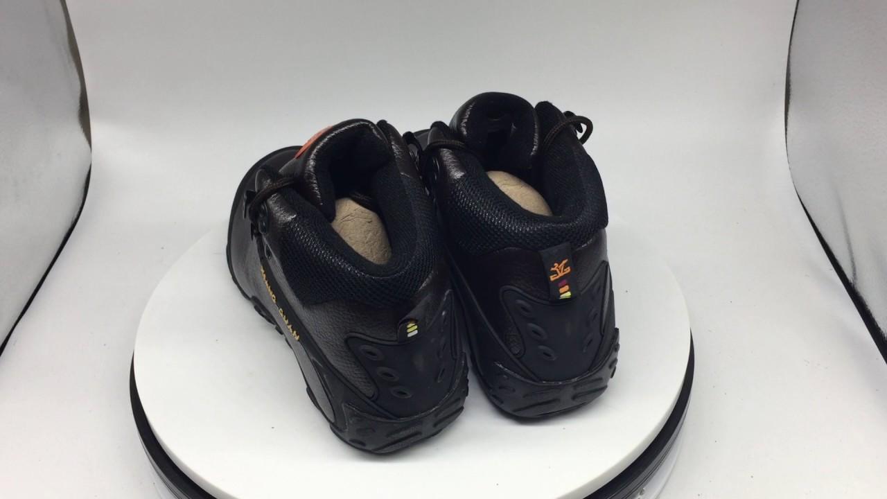eee1a1ed519 XIANGGUAN mid cut genuine leather hiking shoes men women cow leather  climbing outdoor shoes