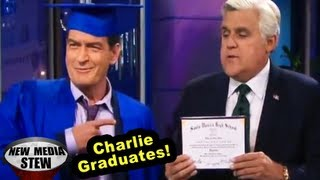 CHARLIE SHEEN Gets High School Diploma on 'Tonight Show'