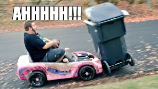 FAT MAN MARIO KART GARBAGE CAN CRASH!!