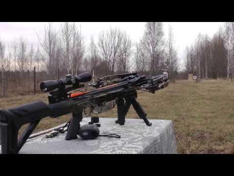 Арбалет Жнец 410 - Стрельба за коробки на 50 м