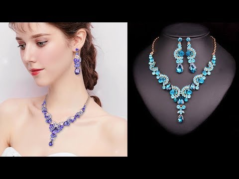 ⭐️ Fashion Crystal Wedding Jewelry Sets For Bride Party 💘 Necklace Earring Jewellery for Women