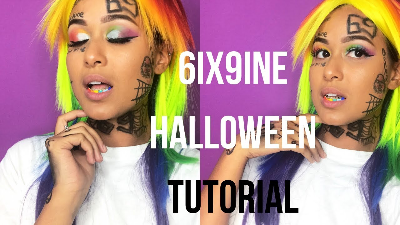6ix9ine Costume: HALLOWEEN TUTORIAL 🎃🌈 - YouTube