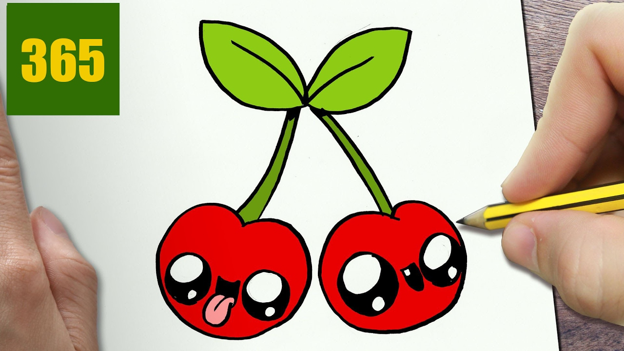 HOW TO DRAW A CHERRY CUTE, Easy step by step drawing ...