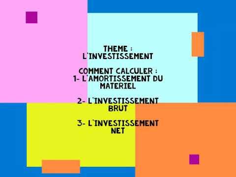Comment Calculer Linvestissement Net