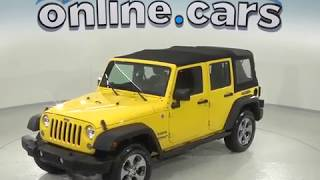 oA97030CP Used 2015 Jeep Wrangler Unlimited Sport 4WD Yellow Test Drive, Review, For Sale
