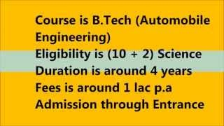 Automobile Engineering as a course choice after 12th