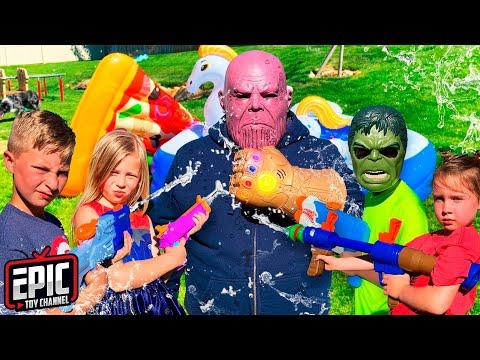 Super Soaker Nerf Battle - Avengers Hero Kidz