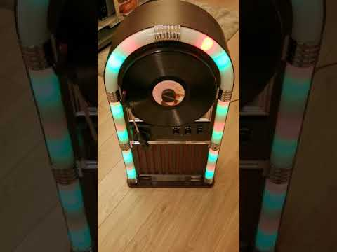 ART+SOUND AR3004 Bluetooth Wireless Jukebox with Vertical Record Player and  Retro Light Show