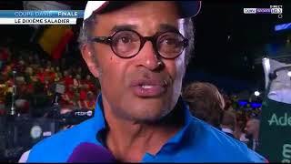 Réaction de Yannick Noah après la victoire de l'EDF de tennis en Coupe DAVIS