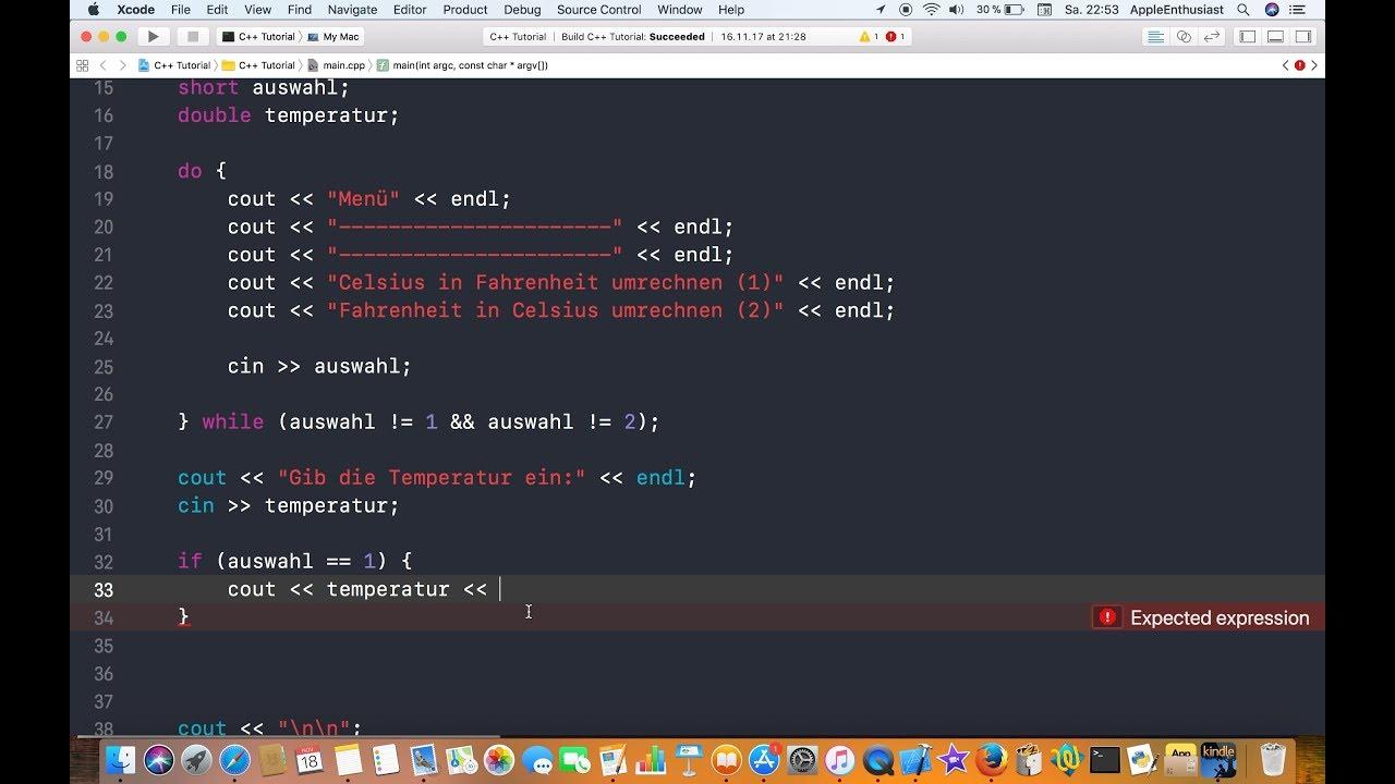 C++ mit Xcode programmieren   Temperaturumrechner