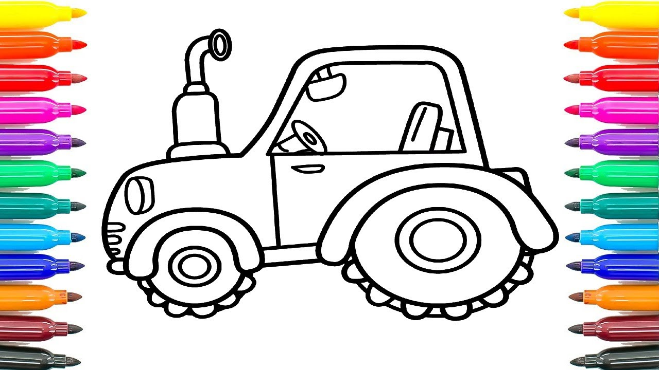 how to draw tractor for kids coloring pages for kids how to paint