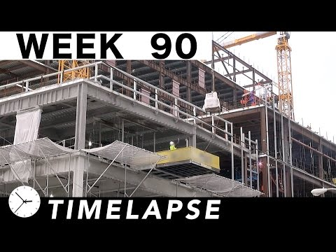 One-week construction time-lapse with 35 closeups: Week 90: Cranes, concrete pump, welders, more