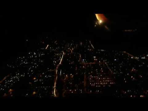 Jet airways night view landing at mumbai