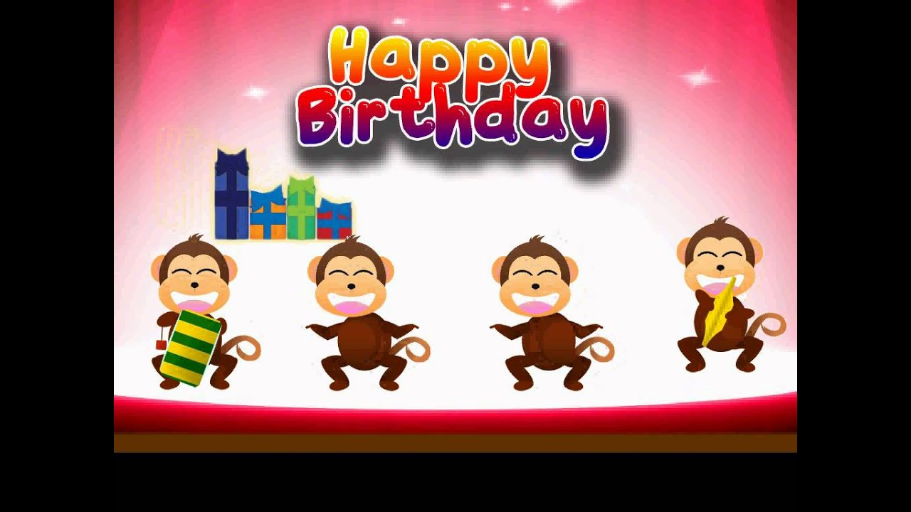 E Card Happy Birthday Monkey Party Youtube