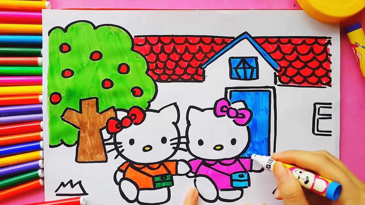 Кошка Китти. Раскраска для детей своими руками! Обучающие ...