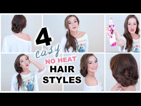4 Easy No Heat Hairstyles Youtube