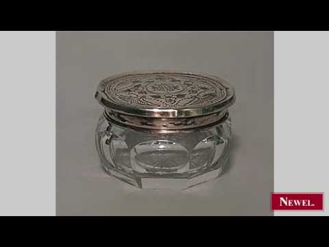 Antique American Victorian crystal box with gilt etched