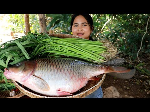 Fried Big Fish With Water Spinach Recipe - Cooking Fish Egg - My Food My Lifestyle
