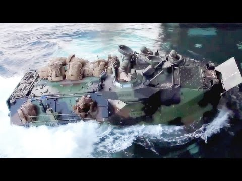 U.S. Marines Assault Amphibious Vehicle - Well Deck Landing